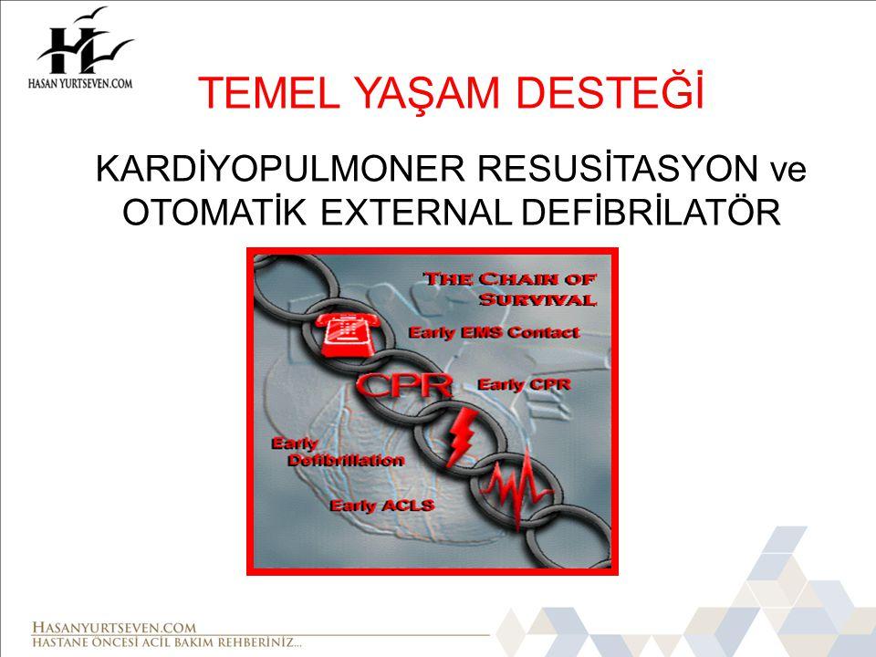  Kalp solunum durmasının hızla tanınması  Etkin kalp masajı ve suni solunum uygulanması ve  3 dk içinde AED ile defibrilasyonun sağlanması (DF) AMAÇ