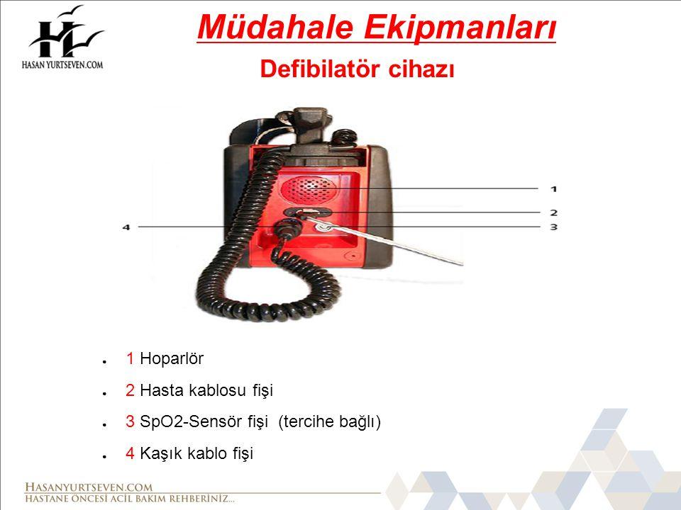● 1 Hoparlör ● 2 Hasta kablosu fişi ● 3 SpO2-Sensör fişi (tercihe bağlı) ● 4 Kaşık kablo fişi Defibilatör cihazı Müdahale Ekipmanları