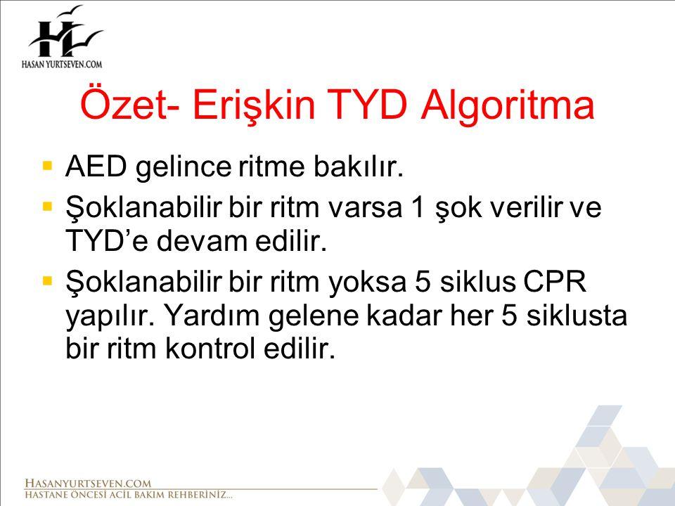 Özet- Erişkin TYD Algoritma  AED gelince ritme bakılır.