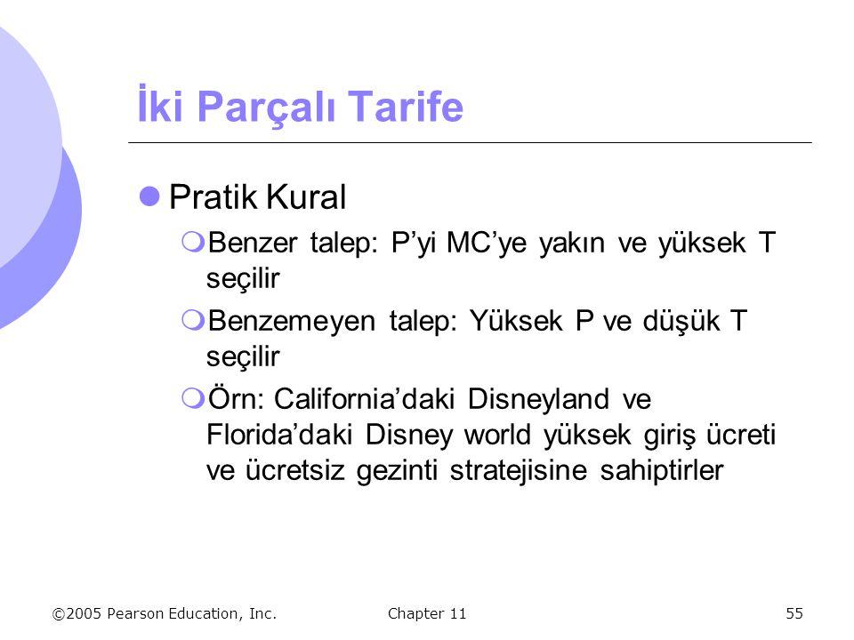 ©2005 Pearson Education, Inc. Chapter 1155 İki Parçalı Tarife Pratik Kural  Benzer talep: P'yi MC'ye yakın ve yüksek T seçilir  Benzemeyen talep: Yü