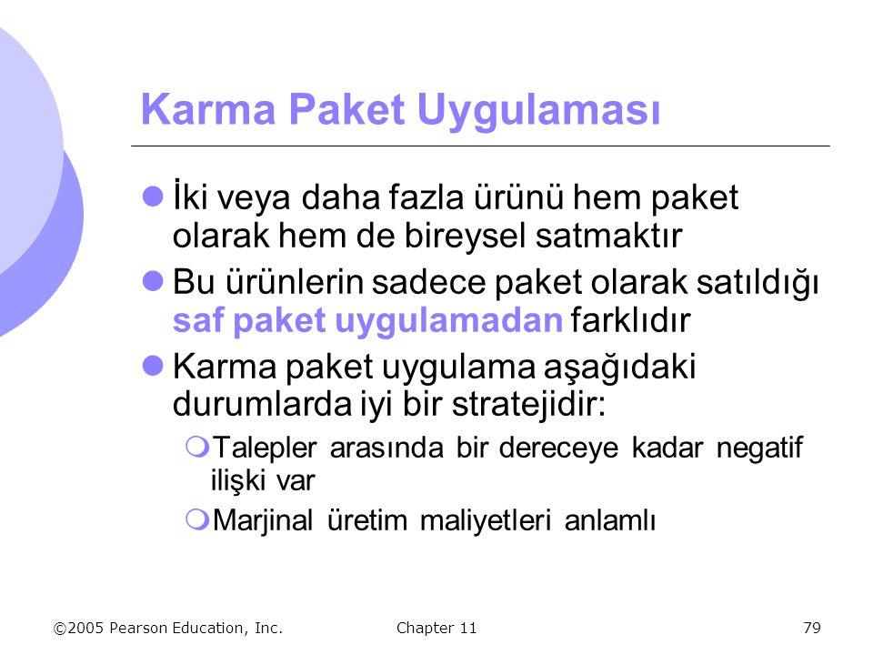©2005 Pearson Education, Inc. Chapter 1179 Karma Paket Uygulaması İki veya daha fazla ürünü hem paket olarak hem de bireysel satmaktır Bu ürünlerin sa