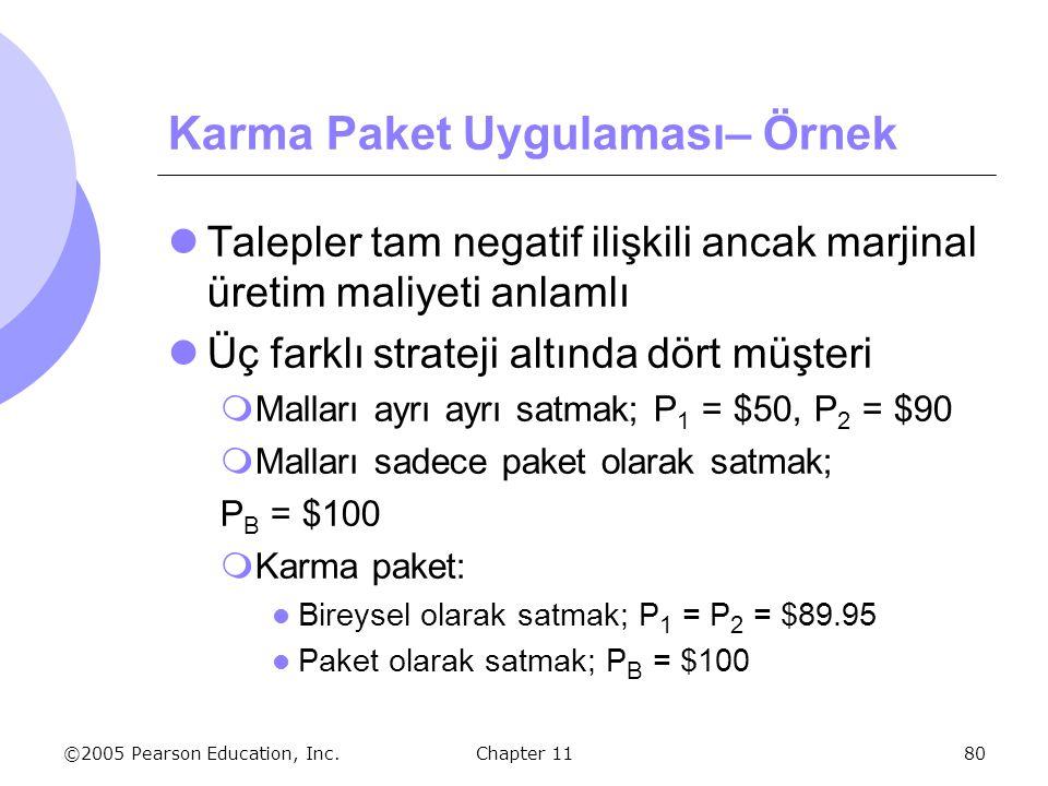 ©2005 Pearson Education, Inc. Chapter 1180 Karma Paket Uygulaması– Örnek Talepler tam negatif ilişkili ancak marjinal üretim maliyeti anlamlı Üç farkl