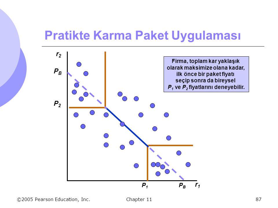 ©2005 Pearson Education, Inc. Chapter 1187 Pratikte Karma Paket Uygulaması r2r2 r1r1 Firma, toplam kar yaklaşık olarak maksimize olana kadar, ilk önce