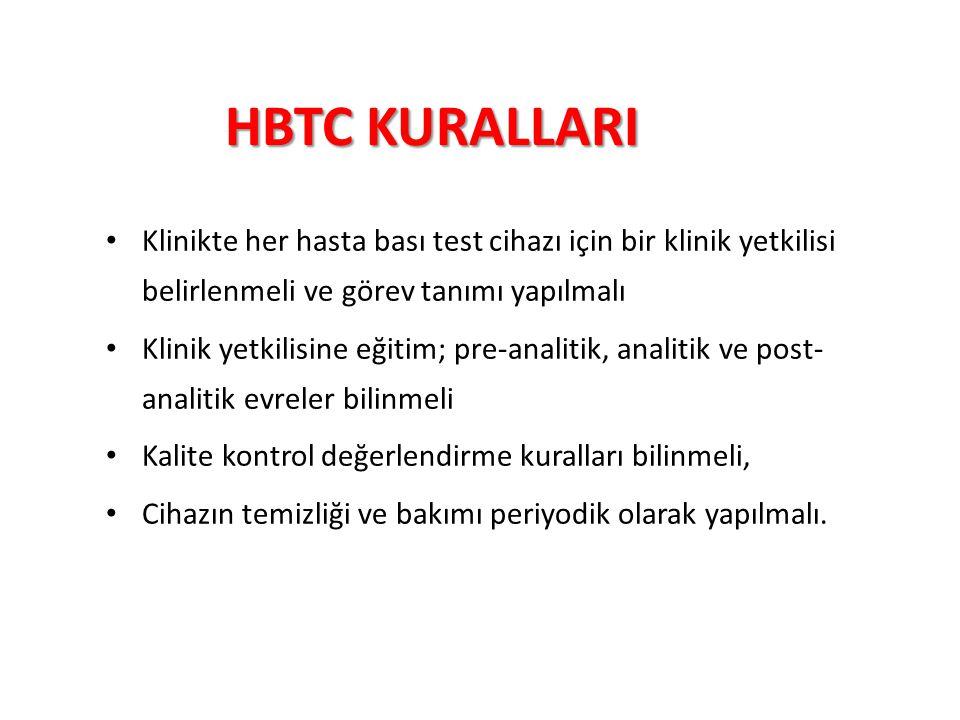 HBTC KURALLARI Klinikte her hasta bası test cihazı için bir klinik yetkilisi belirlenmeli ve görev tanımı yapılmalı Klinik yetkilisine eğitim; pre-ana