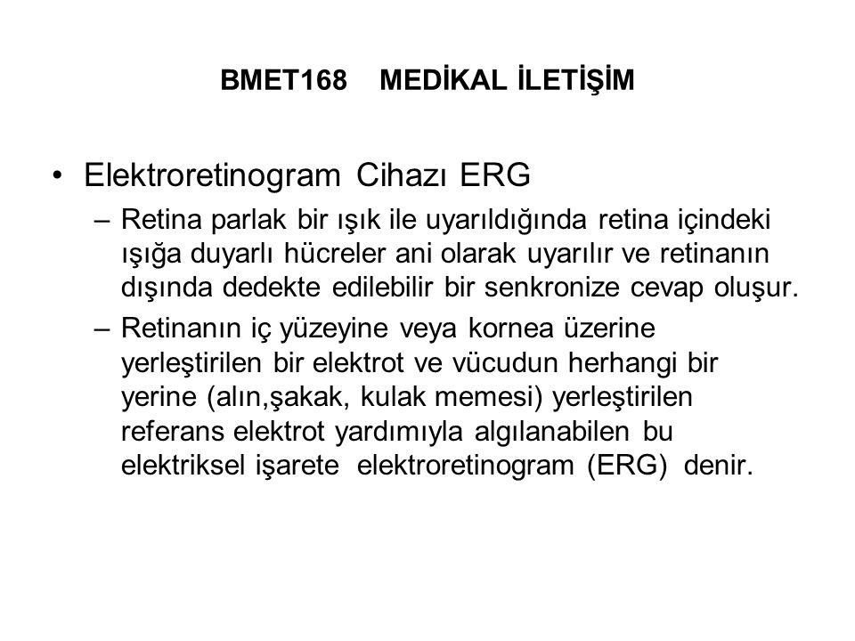 BMET168 MEDİKAL İLETİŞİM Elektroretinogram Cihazı ERG –Retina parlak bir ışık ile uyarıldığında retina içindeki ışığa duyarlı hücreler ani olarak uyarılır ve retinanın dışında dedekte edilebilir bir senkronize cevap oluşur.