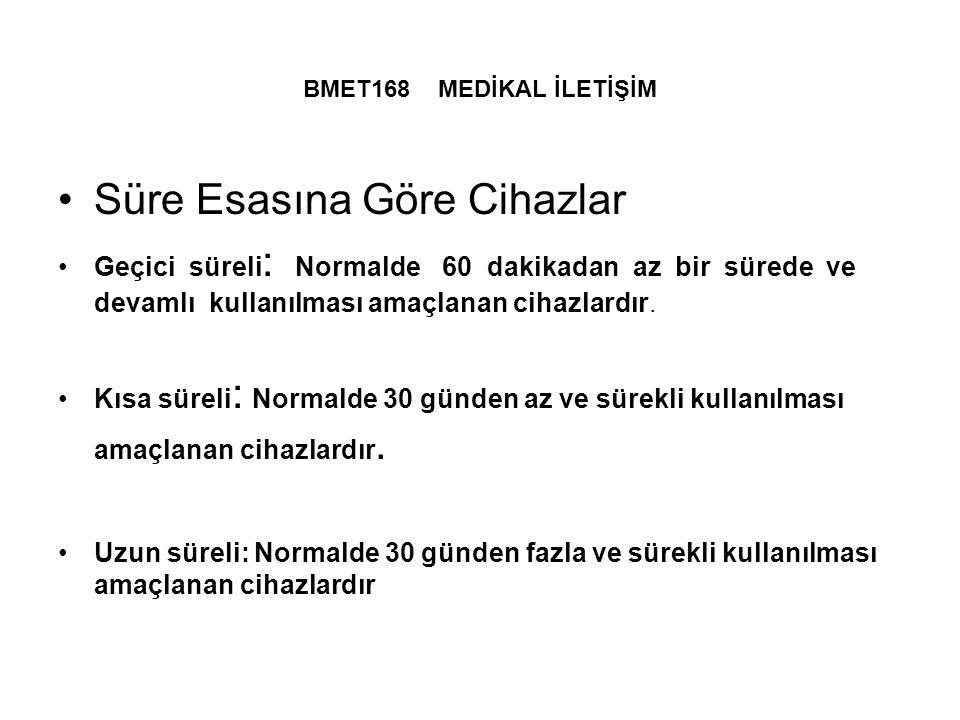 BMET168 MEDİKAL İLETİŞİM Tıbbî Cihazlarda Tehlike Sınıfları 14 Haziran 1993 tarihinde Avrupa Bakanlar Konseyi tarafından kabul edilen Tıbbî Cihazlar Direktifinde tıbbî cihazlar; kullanımından, üretiminden, tasarımından kaynaklanan tehlike Statülerine göre 4 grupta ele alınmış ve (Direktif 93/42/EEC)'de ayrıntılı olarak tanımlanmıştır.