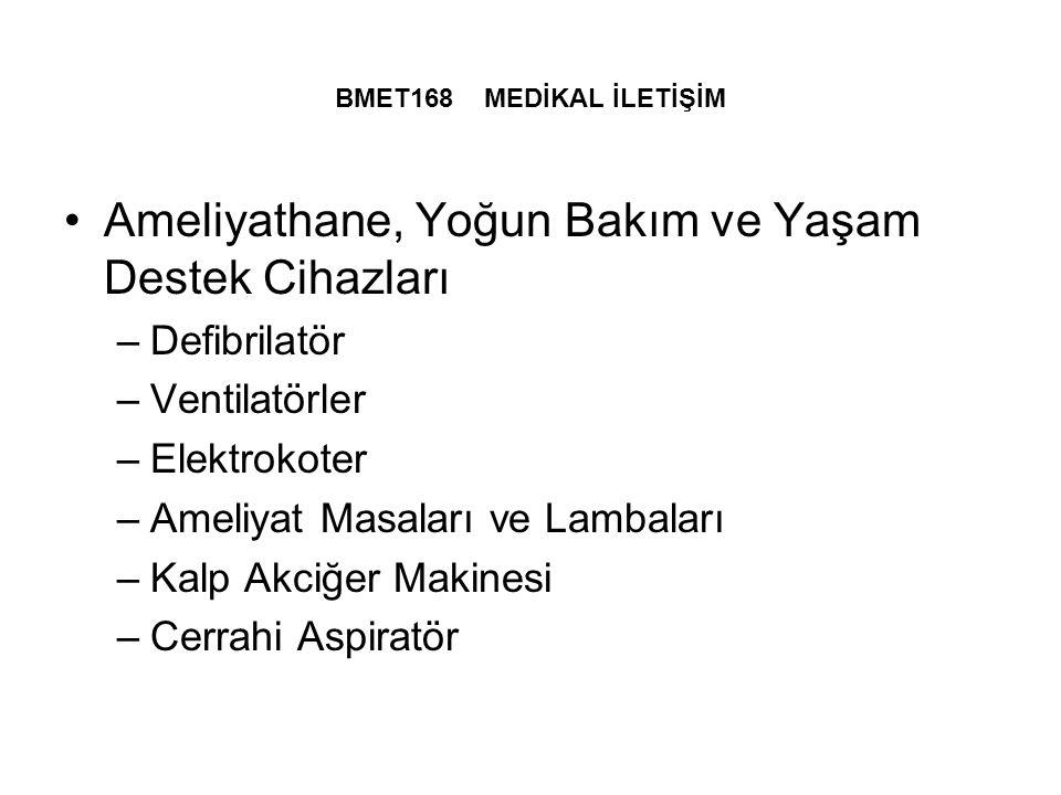 BMET168 MEDİKAL İLETİŞİM Ameliyathane, Yoğun Bakım ve Yaşam Destek Cihazları –Defibrilatör –Ventilatörler –Elektrokoter –Ameliyat Masaları ve Lambaları –Kalp Akciğer Makinesi –Cerrahi Aspiratör