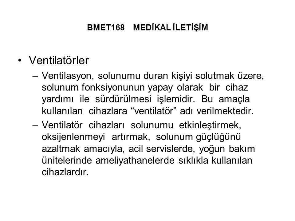 BMET168 MEDİKAL İLETİŞİM Ventilatörler –Ventilasyon, solunumu duran kişiyi solutmak üzere, solunum fonksiyonunun yapay olarak bir cihaz yardımı ile sürdürülmesi işlemidir.