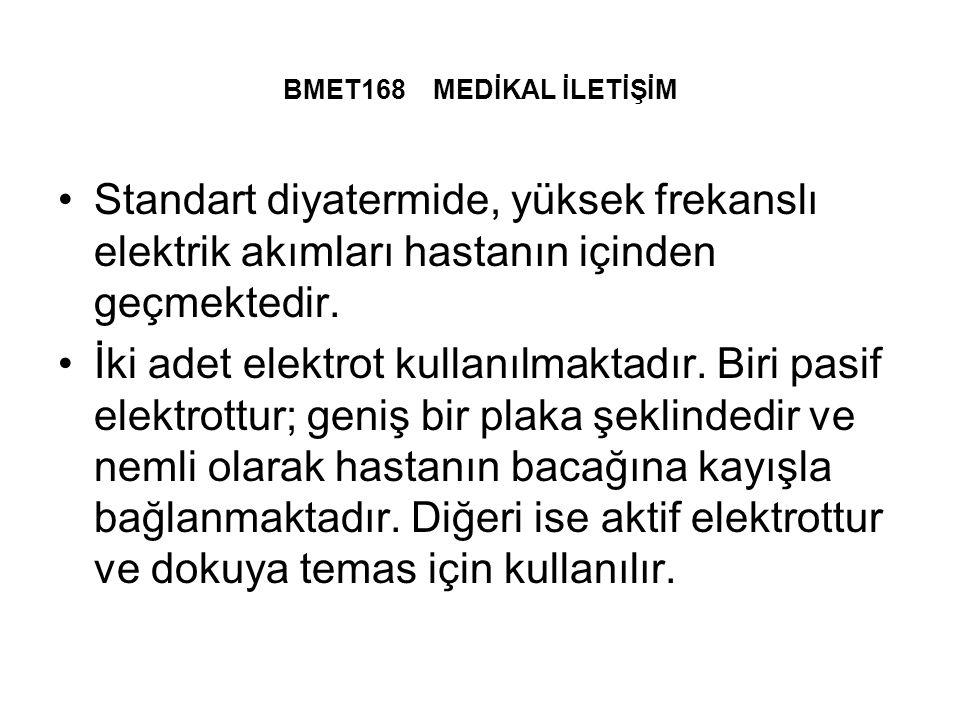 BMET168 MEDİKAL İLETİŞİM Standart diyatermide, yüksek frekanslı elektrik akımları hastanın içinden geçmektedir.