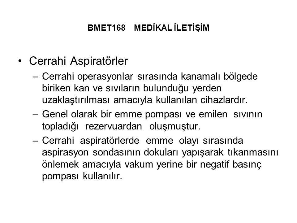 BMET168 MEDİKAL İLETİŞİM Cerrahi Aspiratörler –Cerrahi operasyonlar sırasında kanamalı bölgede biriken kan ve sıvıların bulunduğu yerden uzaklaştırılması amacıyla kullanılan cihazlardır.