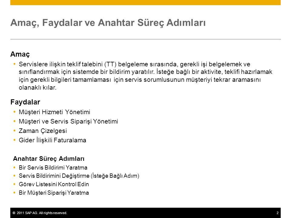 ©2011 SAP AG. All rights reserved.2 Amaç, Faydalar ve Anahtar Süreç Adımları Amaç  Servislere ilişkin teklif talebini (TT) belgeleme sırasında, gerek
