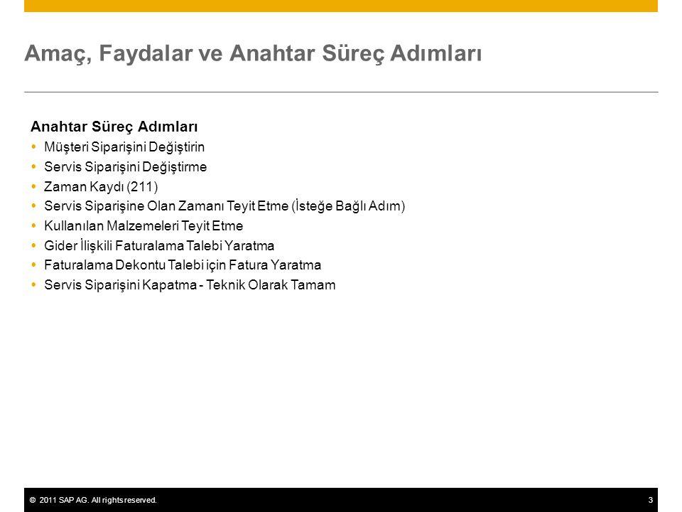 ©2011 SAP AG. All rights reserved.3 Amaç, Faydalar ve Anahtar Süreç Adımları Anahtar Süreç Adımları  Müşteri Siparişini Değiştirin  Servis Siparişin