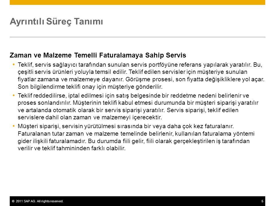 ©2011 SAP AG. All rights reserved.5 Ayrıntılı Süreç Tanımı Zaman ve Malzeme Temelli Faturalamaya Sahip Servis  Teklif, servis sağlayıcı tarafından su