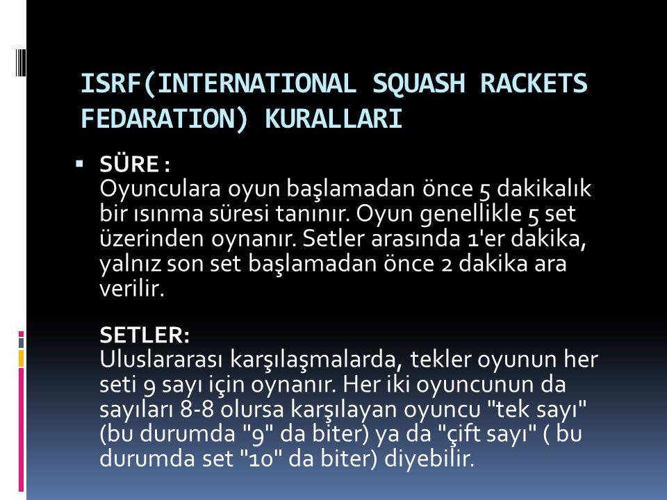 ISRF(INTERNATIONAL SQUASH RACKETS FEDARATION) KURALLARI  SÜRE : Oyunculara oyun başlamadan önce 5 dakikalık bir ısınma süresi tanınır. Oyun genellikl