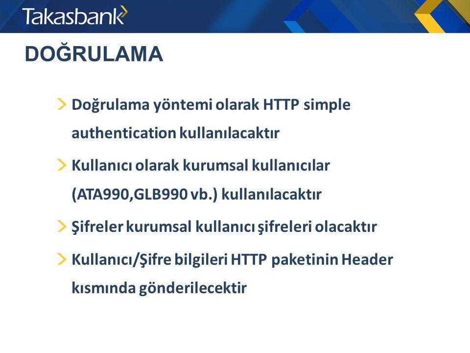 DOĞRULAMA Doğrulama yöntemi olarak HTTP simple authentication kullanılacaktır Kullanıcı olarak kurumsal kullanıcılar (ATA990,GLB990 vb.) kullanılacakt