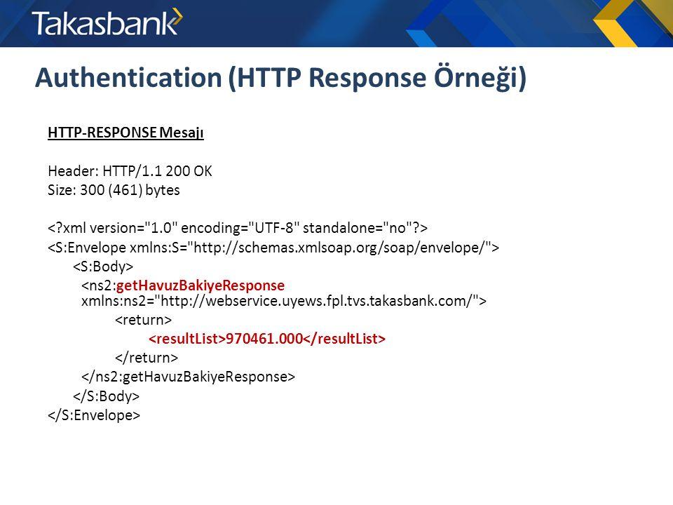 Authentication (HTTP Response Örneği) HTTP-RESPONSE Mesajı Header: HTTP/1.1 200 OK Size: 300 (461) bytes 970461.000