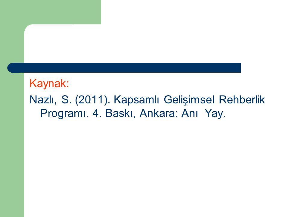 Kaynak: Nazlı, S. (2011). Kapsamlı Gelişimsel Rehberlik Programı. 4. Baskı, Ankara: Anı Yay.