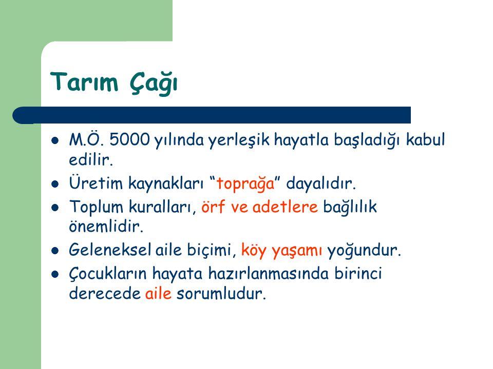 Tarım Çağı M.Ö.5000 yılında yerleşik hayatla başladığı kabul edilir.