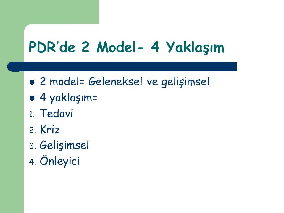 Geleneksel-Gelişimsel PDR Farkı Geleneksel rehberlik modelinin amacı kendini gerçekleştirmedir.