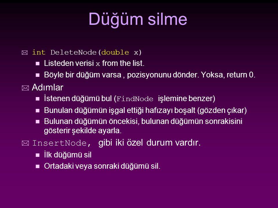 Düğüm silme * int DeleteNode(double x) n Listeden verisi x from the list.