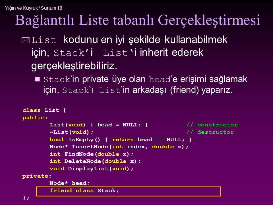 Yığın ve Kuyruk / Sunum 16  List kodunu en iyi şekilde kullanabilmek için, Stack' i List' i inherit ederek gerçekleştirebiliriz. Stack 'in private üy