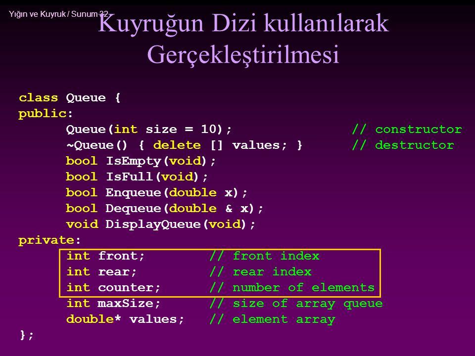 Yığın ve Kuyruk / Sunum 32 Kuyruğun Dizi kullanılarak Gerçekleştirilmesi class Queue { public: Queue(int size = 10);// constructor ~Queue() { delete [