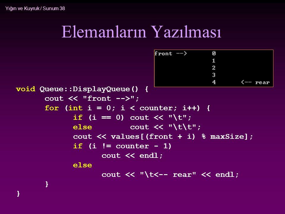 Yığın ve Kuyruk / Sunum 38 Elemanların Yazılması void Queue::DisplayQueue() { cout