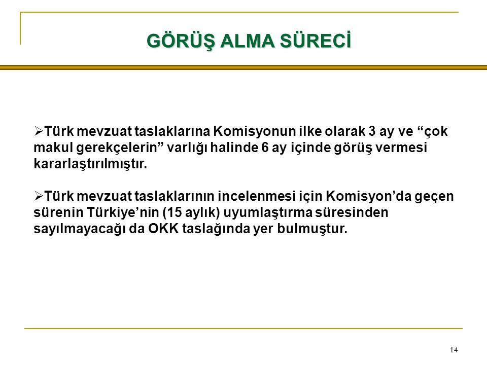 """14  Türk mevzuat taslaklarına Komisyonun ilke olarak 3 ay ve """"çok makul gerekçelerin"""" varlığı halinde 6 ay içinde görüş vermesi kararlaştırılmıştır."""