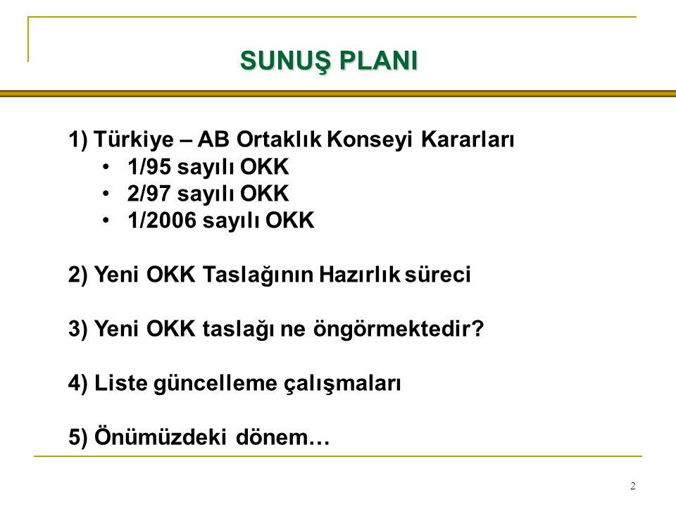 2 SUNUŞ PLANI 1)Türkiye – AB Ortaklık Konseyi Kararları 1/95 sayılı OKK 2/97 sayılı OKK 1/2006 sayılı OKK 2) Yeni OKK Taslağının Hazırlık süreci 3) Yeni OKK taslağı ne öngörmektedir.