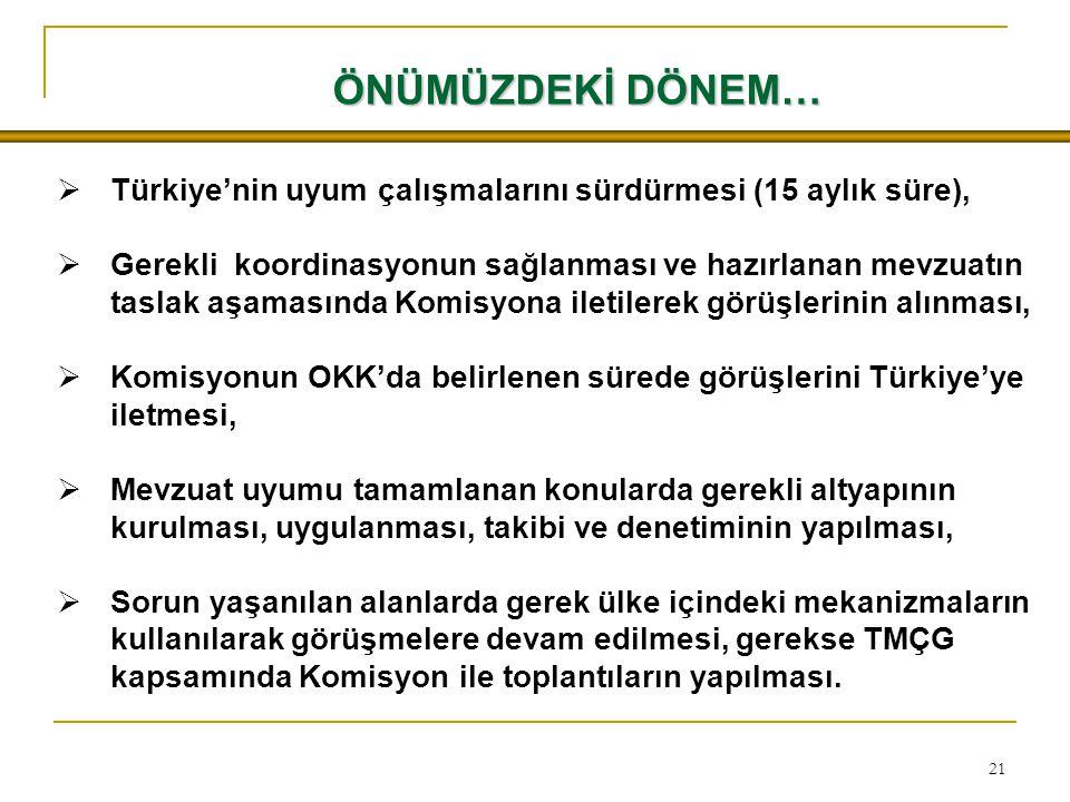 21 ÖNÜMÜZDEKİ DÖNEM…  Türkiye'nin uyum çalışmalarını sürdürmesi (15 aylık süre),  Gerekli koordinasyonun sağlanması ve hazırlanan mevzuatın taslak aşamasında Komisyona iletilerek görüşlerinin alınması,  Komisyonun OKK'da belirlenen sürede görüşlerini Türkiye'ye iletmesi,  Mevzuat uyumu tamamlanan konularda gerekli altyapının kurulması, uygulanması, takibi ve denetiminin yapılması,  Sorun yaşanılan alanlarda gerek ülke içindeki mekanizmaların kullanılarak görüşmelere devam edilmesi, gerekse TMÇG kapsamında Komisyon ile toplantıların yapılması.