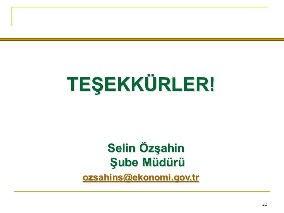 22 TEŞEKKÜRLER! Selin Özşahin Selin Özşahin Şube Müdürü Şube Müdürü ozsahins@ekonomi.gov.tr