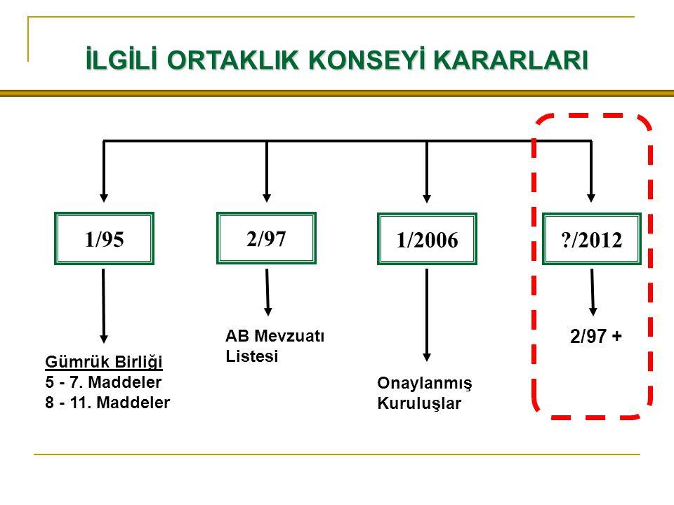 İLGİLİ ORTAKLIK KONSEYİ KARARLARI 1/95 Gümrük Birliği 5 - 7.