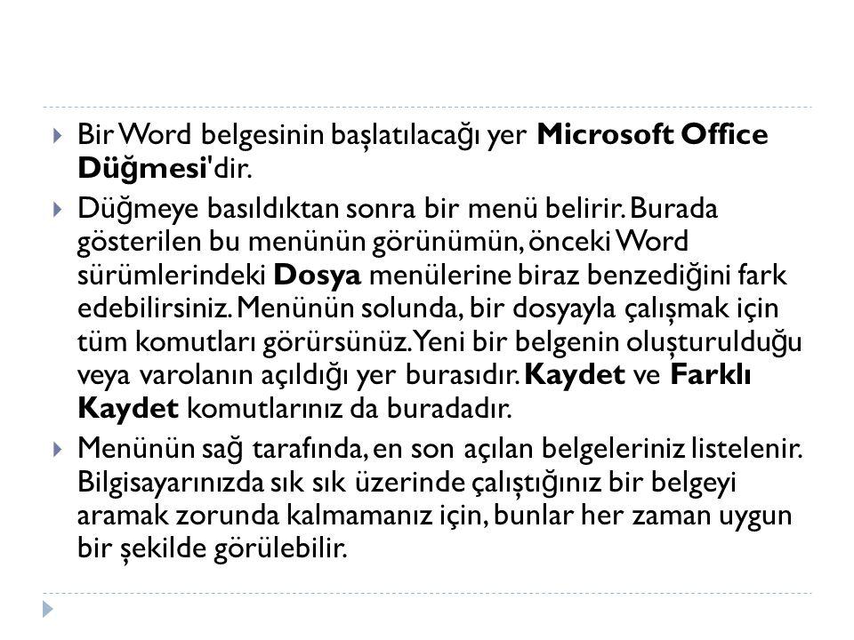  Bir Word belgesinin başlatılaca ğ ı yer Microsoft Office Dü ğ mesi'dir.  Dü ğ meye basıldıktan sonra bir menü belirir. Burada gösterilen bu menünün