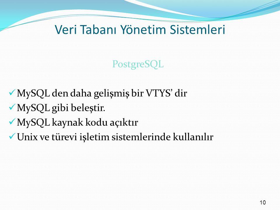 Veri Tabanı Yönetim Sistemleri PostgreSQL MySQL den daha gelişmiş bir VTYS' dir MySQL gibi beleştir.