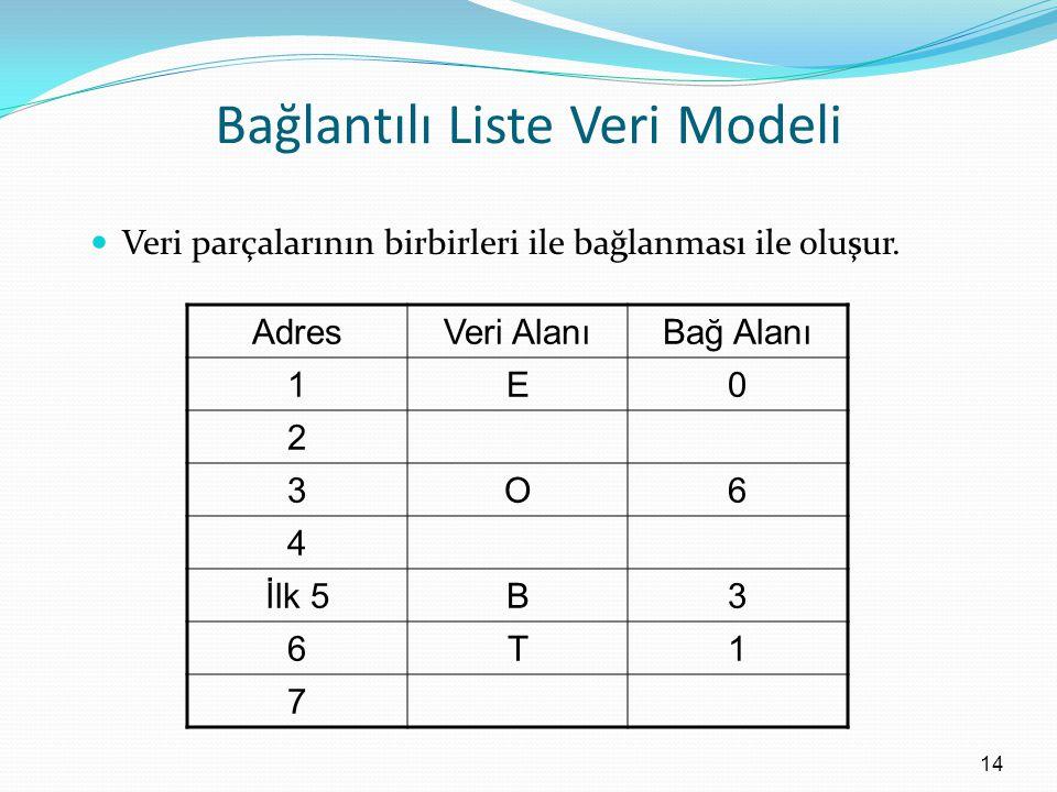 Bağlantılı Liste Veri Modeli Veri parçalarının birbirleri ile bağlanması ile oluşur.