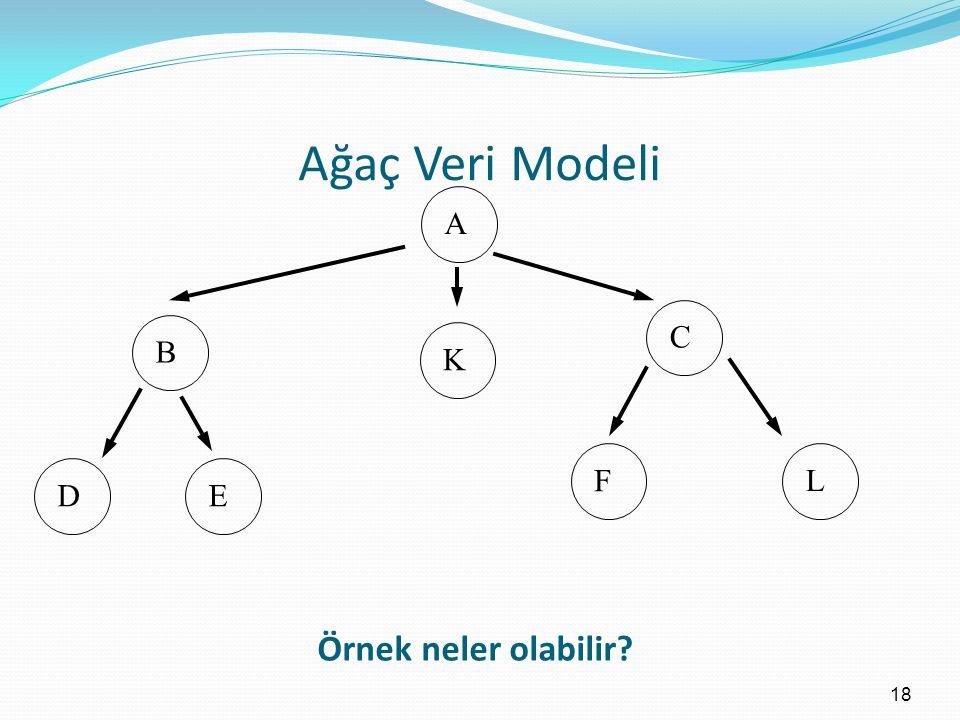 Ağaç Veri Modeli 18 A B K DE C F L Örnek neler olabilir?