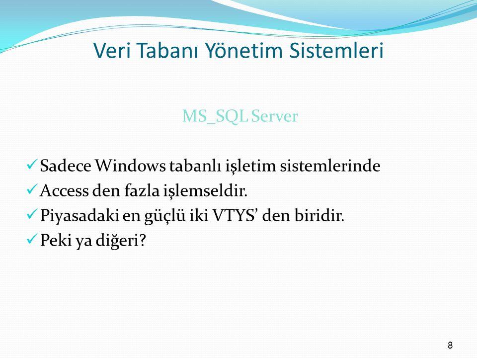 Veri Tabanı Yönetim Sistemleri MS_SQL Server Sadece Windows tabanlı işletim sistemlerinde Access den fazla işlemseldir.