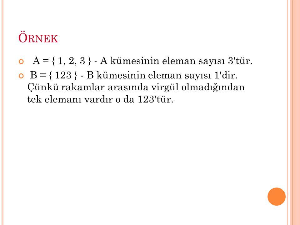 A = { 1, 2, 3 } - A kümesinin eleman sayısı 3 tür.
