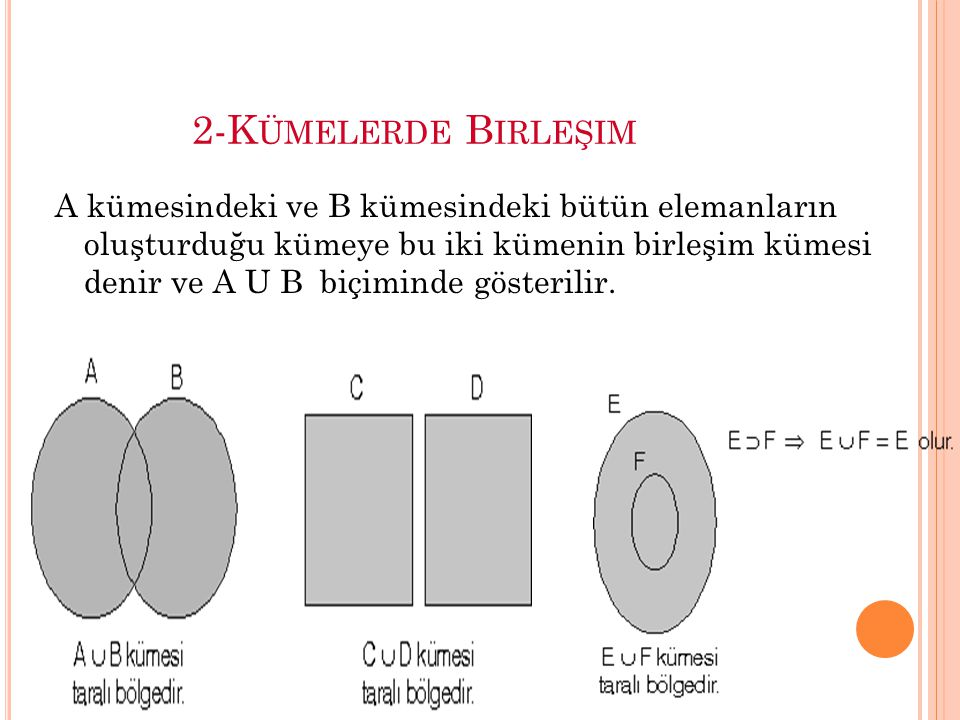 2-K ÜMELERDE B IRLEŞIM A kümesindeki ve B kümesindeki bütün elemanların oluşturduğu kümeye bu iki kümenin birleşim kümesi denir ve A U B biçiminde gösterilir.