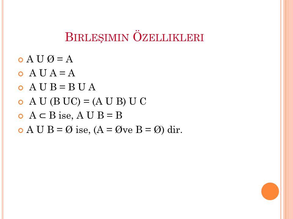 B IRLEŞIMIN Ö ZELLIKLERI A U Ø = A A U A = A A U B = B U A A U (B UC) = (A U B) U C A ⊂ B ise, A U B = B A U B = Ø ise, (A = Øve B = Ø) dir.