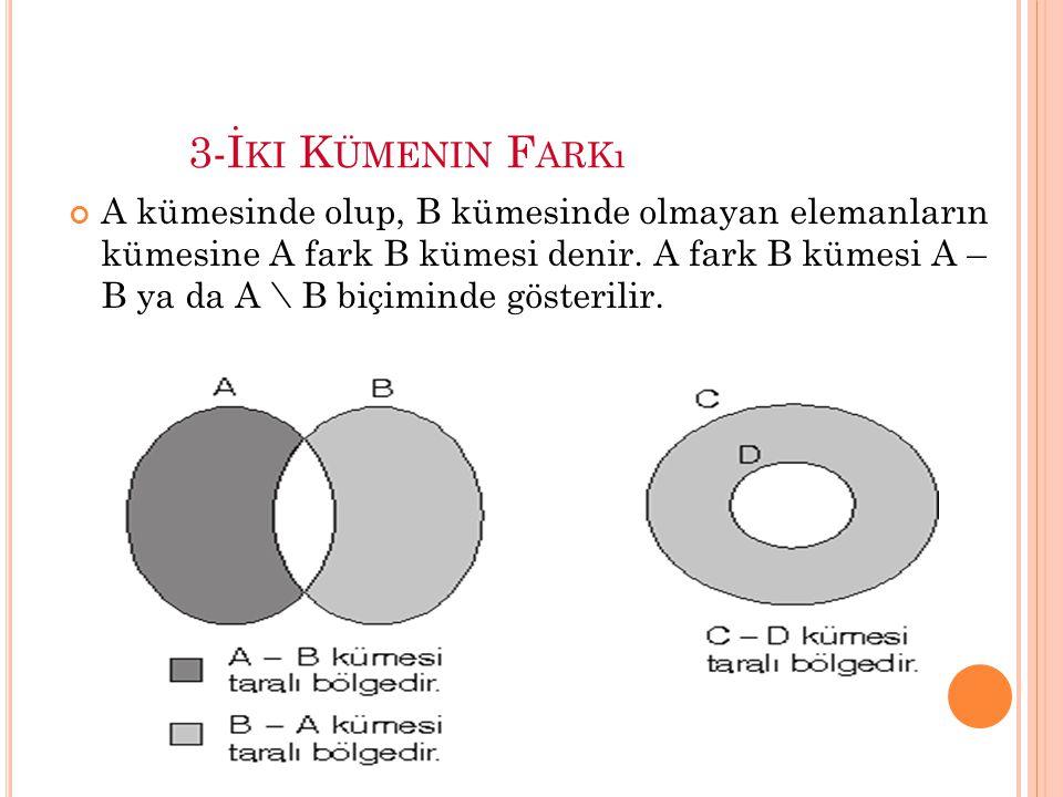 3-İ KI K ÜMENIN F ARKı A kümesinde olup, B kümesinde olmayan elemanların kümesine A fark B kümesi denir.