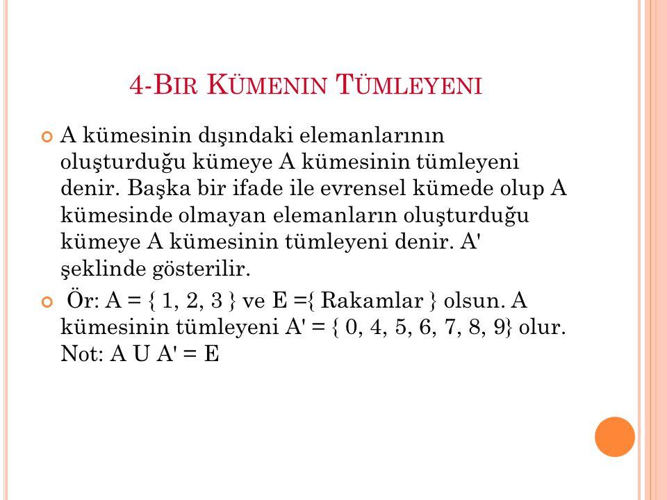 4-B IR K ÜMENIN T ÜMLEYENI A kümesinin dışındaki elemanlarının oluşturduğu kümeye A kümesinin tümleyeni denir.