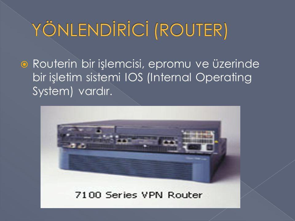  Brouter (Bridge Router) › Hem yönlendirici hem de köprüyü tek cihazda toplar.