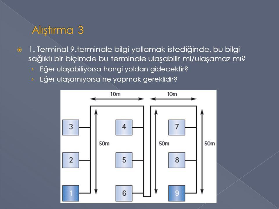  1. Terminal 9.terminale bilgi yollamak istediğinde, bu bilgi sağlıklı bir biçimde bu terminale ulaşabilir mi/ulaşamaz mı? › Eğer ulaşabiliyorsa hang