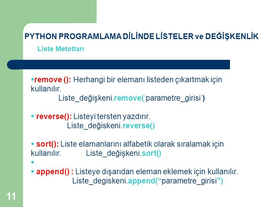 Liste Metotları  remove (): Herhangi bir elemanı listeden çıkartmak için kullanılır. Liste_değişkeni.remove('parametre_girisi')  reverse(): Listeyi