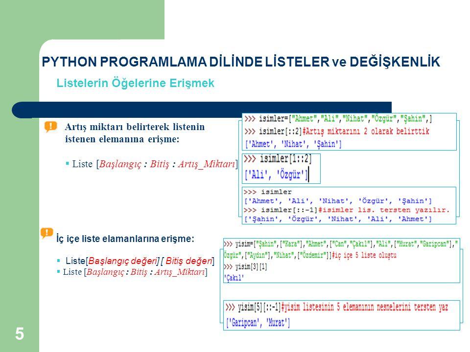 Kullanım Şekli:  len (Liste)  String ifadeler için de kullanımı aynıdır.