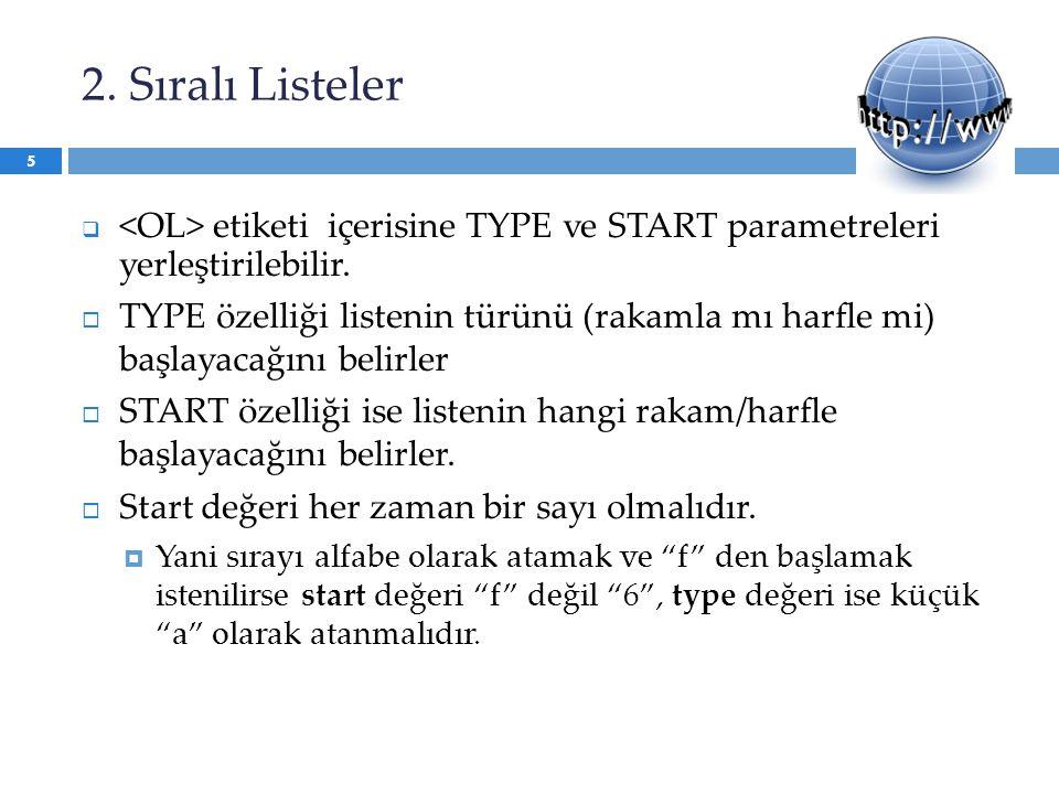 2. Sıralı Listeler  etiketi içerisine TYPE ve START parametreleri yerleştirilebilir.  TYPE özelliği listenin türünü (rakamla mı harfle mi) başlayaca