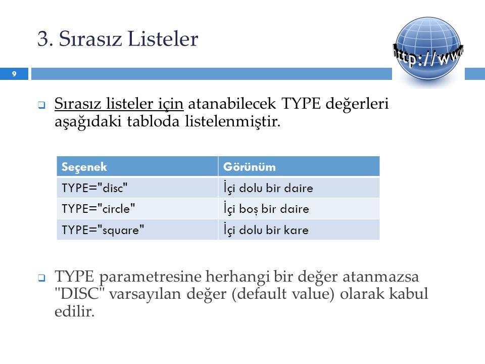 3. Sırasız Listeler  Sırasız listeler için atanabilecek TYPE değerleri aşağıdaki tabloda listelenmiştir.  TYPE parametresine herhangi bir değer atan