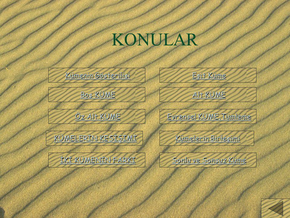 KÜMELER KÜME:Nesnelerin iyi tanımlanmış bir listesidir.Kümeyi oluşturan nesnelere Kümenin Elemanları denir. Kümeler;A,B,C,D,...gibi büyük harflerle gö