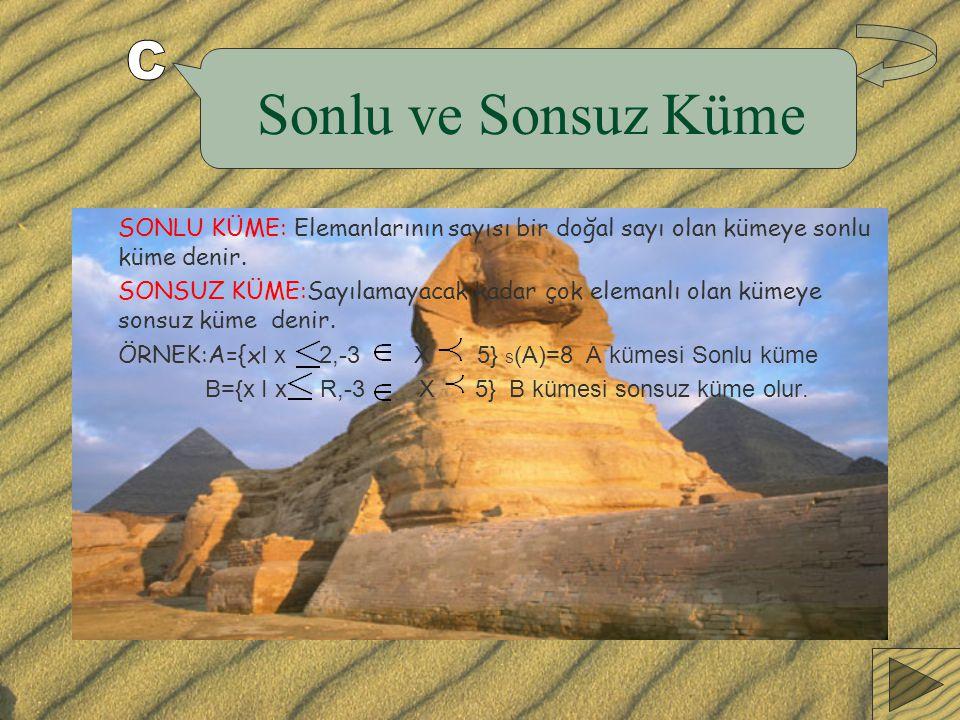 Sonlu ve Sonsuz Küme SONLU KÜME: Elemanlarının sayısı bir doğal sayı olan kümeye sonlu küme denir.